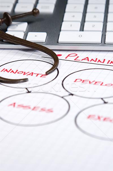 Iş İş stratejisi grafikler bilgisayar kâğıt Stok fotoğraf © cmcderm1