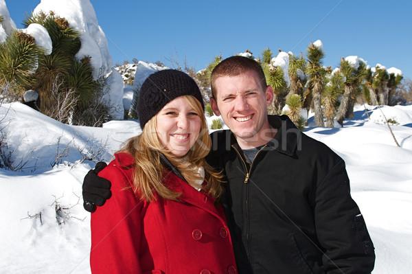 зима страна чудес молодые люди наслаждаться свежие снега Сток-фото © cmcderm1