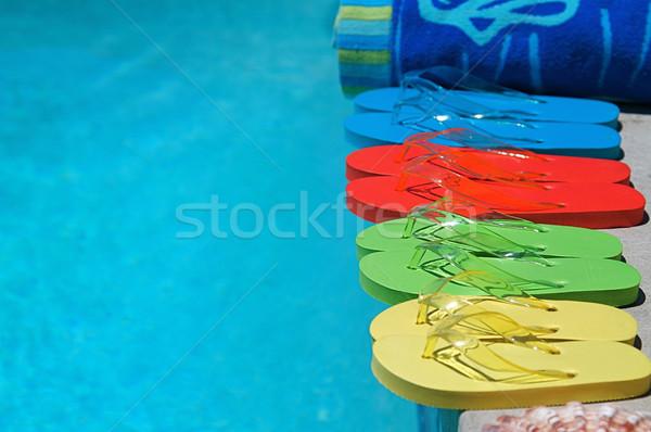 Zomer gekleurd familie vier zwembad oranje Stockfoto © cmcderm1