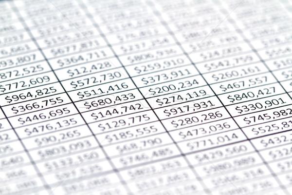 Finanzierung Tabellenkalkulation Spalte Zahlen Business Umsatz Stock foto © cmcderm1