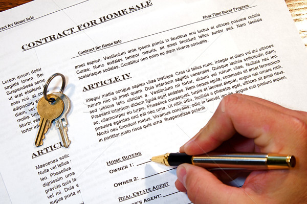 Szerződés otthon vásár új otthon hamisítvány szöveg Stock fotó © cmcderm1