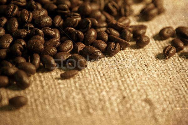 Koffiebonen jute zak retro vintage Stockfoto © cmcderm1
