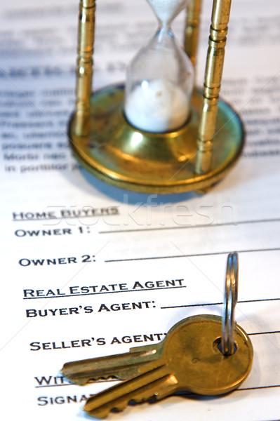 Umowy domu sprzedaży nowy dom podróbka tekst Zdjęcia stock © cmcderm1