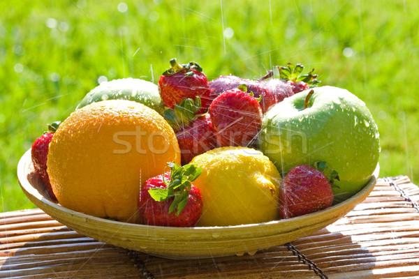 Fresh Bowl of Mixed Fruit in the Rain Stock photo © cmcderm1