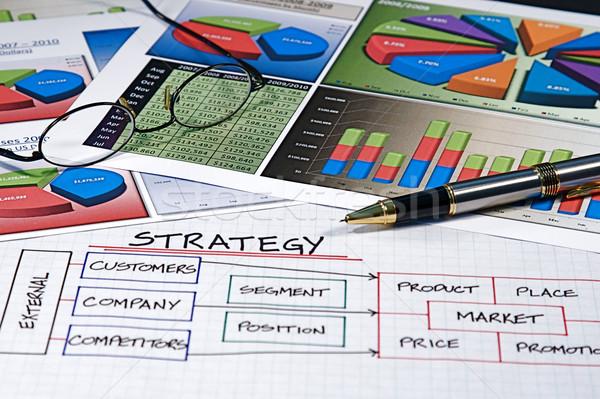 Business charts grafieken ontwerp bril Stockfoto © cmcderm1