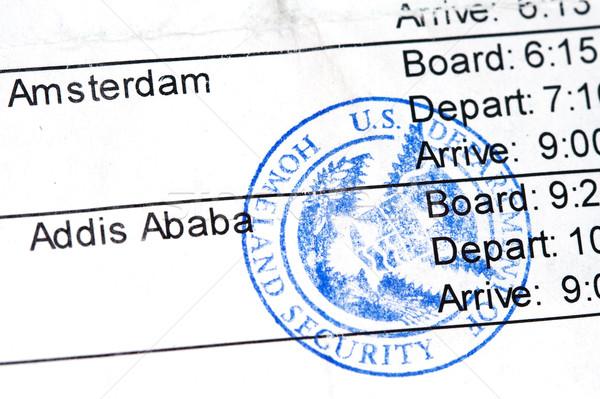 Stock foto: Einschiffung · Fluggesellschaft · öffentlichen · Siegel · Reise