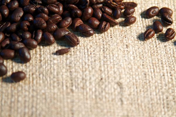 Koffie koffiebonen jute zak vers textuur Stockfoto © cmcderm1