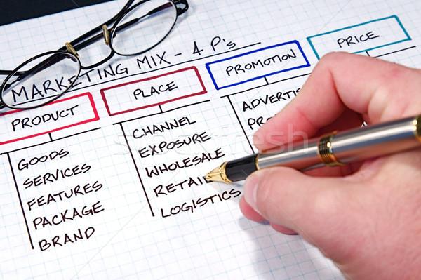 Negócio gráficos estratégia de negócios gráficos caneta projeto Foto stock © cmcderm1