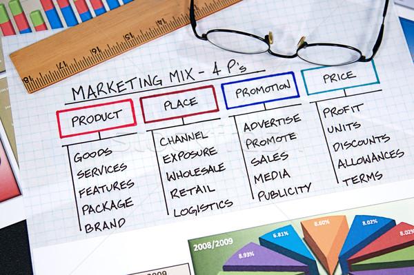 Negócio gráficos estratégia de negócios gráficos projeto óculos Foto stock © cmcderm1