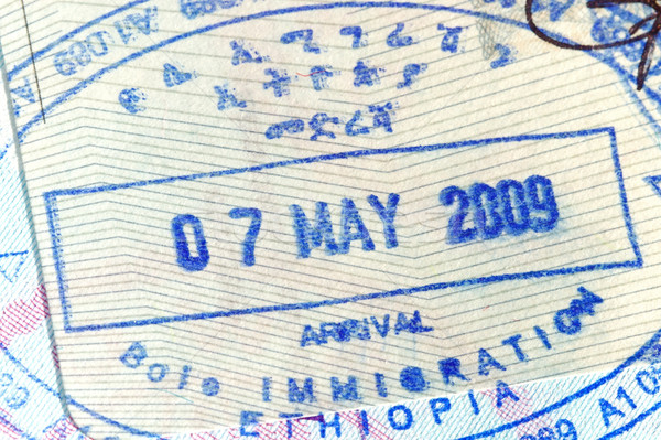 Paspoort stempel pagina Ethiopië reizen boord Stockfoto © cmcderm1