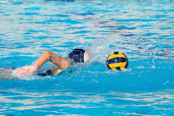 Waterpolo spel actie uitrusting zwembad water Stockfoto © cmcderm1