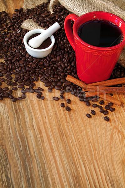 Café grains de café toile de jute sac fraîches alimentaire Photo stock © cmcderm1
