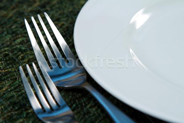 Argenterie modernes lieu cuisine plaque Photo stock © cmcderm1