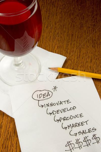 Koktajl serwetka pomysły wykresy innowacja bar Zdjęcia stock © cmcderm1
