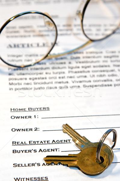 Stockfoto: Contract · home · verkoop · nieuw · huis · namaak · tekst
