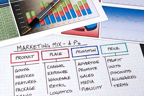 Business charts grafieken pen ontwerp Stockfoto © cmcderm1