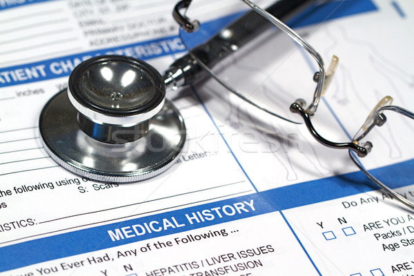 Tıbbi tarih form doktorlar stetoskop Stok fotoğraf © cmcderm1