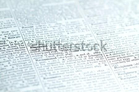 Dictionnaire mots vue affaires mot Photo stock © cmcderm1