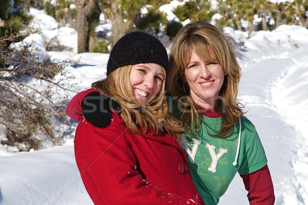 Winter wonderland jongeren genieten vers sneeuw Stockfoto © cmcderm1