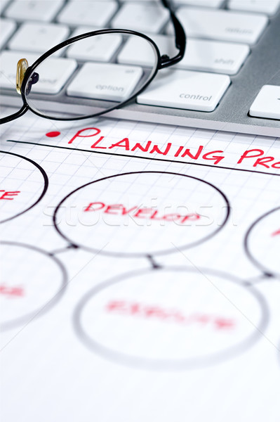 Stock fotó: üzlet · táblázatok · üzleti · stratégia · grafikonok · számítógép · papír