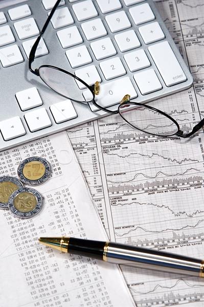 Działalności finansów wykresy pracy komputera gazety Zdjęcia stock © cmcderm1