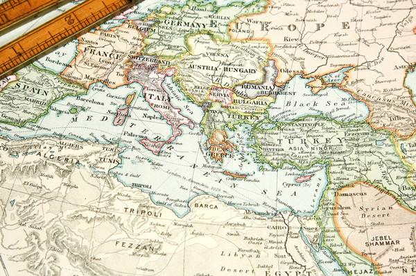 ヴィンテージ 地図 グラフ ヨーロッパ アジア 規模 ストックフォト © cmcderm1