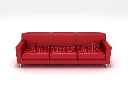 Vermelho couro sofá 3D textura Foto stock © cnapsys