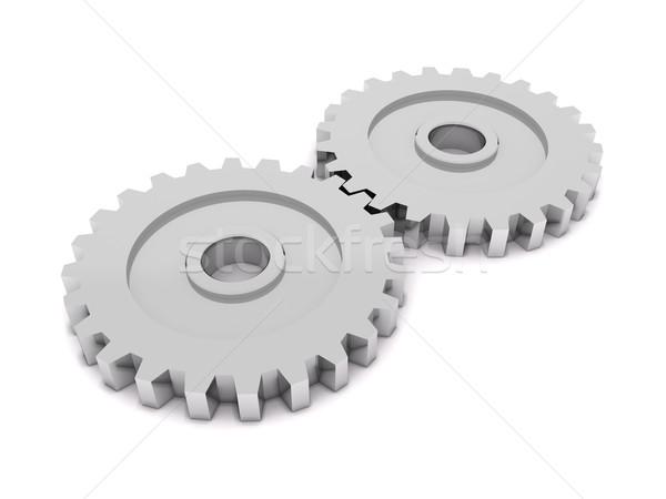 歯車 3D レンダリング カップル 金属 作業 ストックフォト © cnapsys
