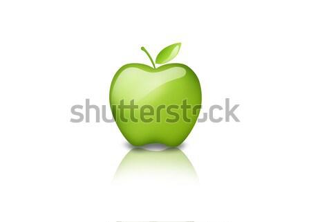 Verde maçã 3D ícone natureza Foto stock © cnapsys