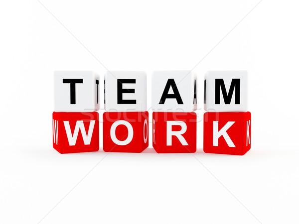 Teamwerk icon 3D teken groep Stockfoto © cnapsys