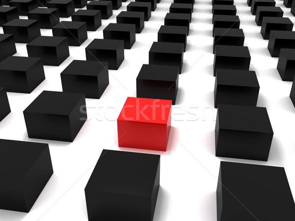 3D blocos vermelho preto caixas Foto stock © cnapsys