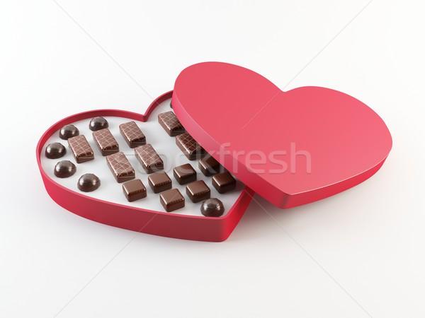 Caixa 3D coração amor Foto stock © cnapsys
