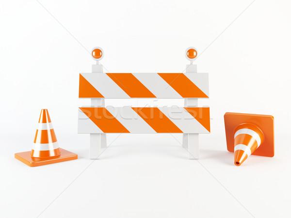 Bouw 3D verkeer werk straat Stockfoto © cnapsys
