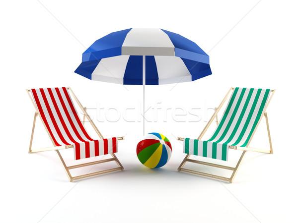 Chaises de plage parapluie couple plage fond président Photo stock © cnapsys