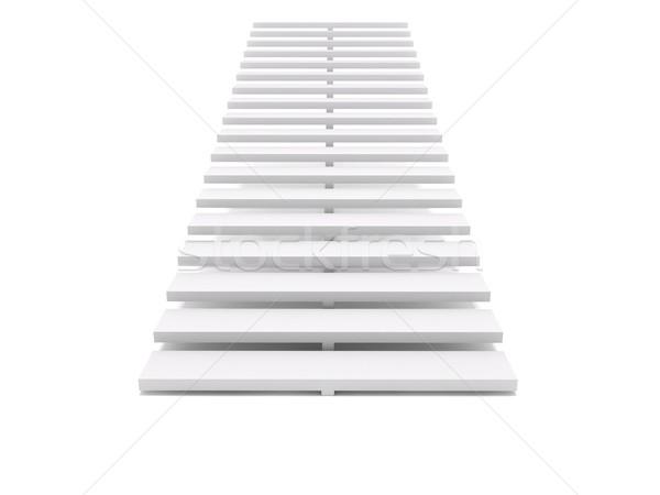 Lépcsőház 3D renderelt kép fehér terv doboz Stock fotó © cnapsys