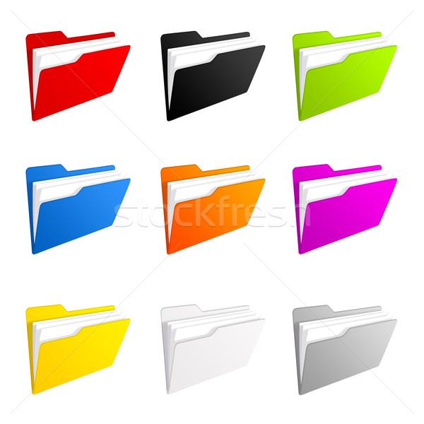 Colorido conjunto dobrador ícones Foto stock © cnapsys