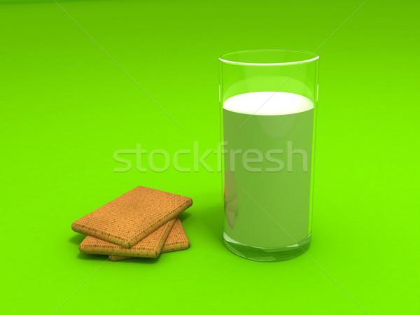 Leite bolinhos 3D vidro beber Foto stock © cnapsys