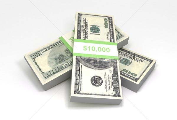 Köteg pénz 3D renderelt kép pénzügy bank Stock fotó © cnapsys