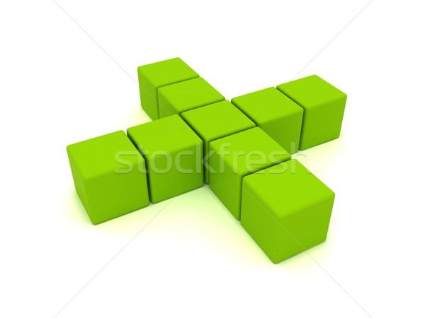 зеленый крест 3D икона медицинской Сток-фото © cnapsys