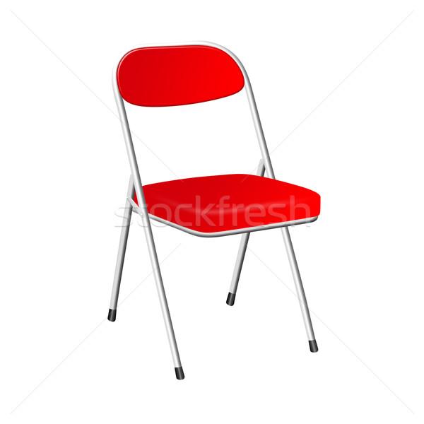 Kırmızı sandalye 3D yalıtılmış beyaz Metal Stok fotoğraf © cnapsys