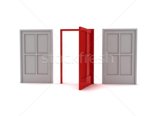 Három ajtók 3D renderelt kép egy piros Stock fotó © cnapsys