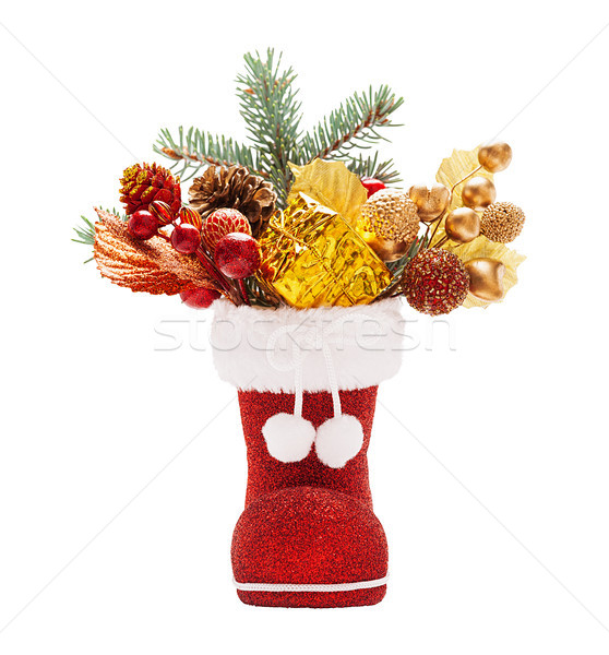 Boots of Santa Claus with Christmas decorations Stock photo © Coffeechocolates