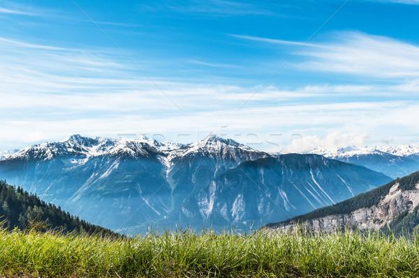 Alpes ver aldeia árvore natureza montanha Foto stock © Coffeechocolates