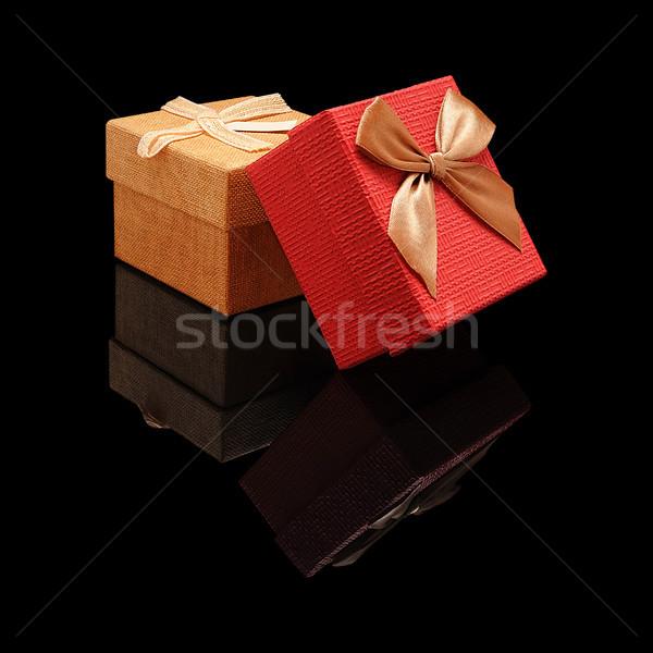 Dois fechado caixas de presente caixa de presente papel tecido Foto stock © Coffeechocolates