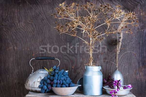 Still life with dry prairie prickly flowers and grapes Stock photo © Coffeechocolates