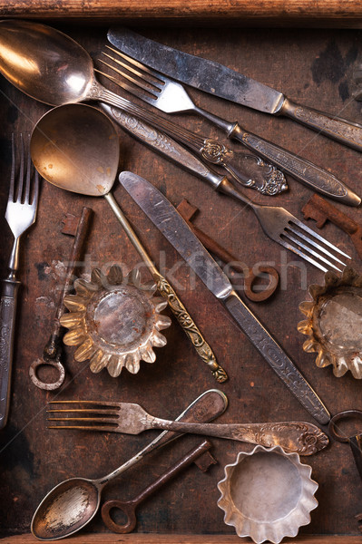 Old cutlery and keys Stock photo © Coffeechocolates