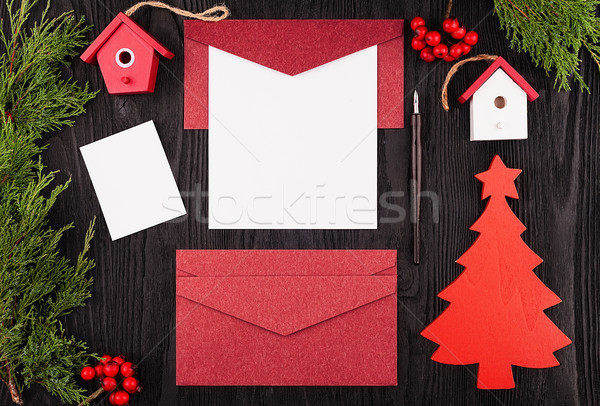 Christmas letter, postcard. View from above Stock photo © Coffeechocolates