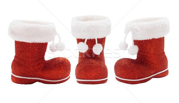Conjunto botas papai noel vazio vermelho isolado Foto stock © Coffeechocolates
