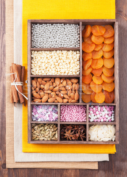 Ingredients for baking in a wooden box Stock photo © Coffeechocolates