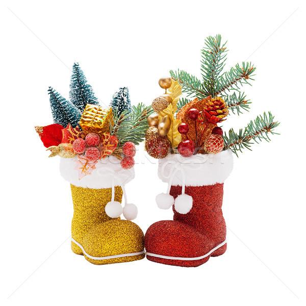 Iki bot noel baba Noel süslemeleri kırmızı Stok fotoğraf © Coffeechocolates